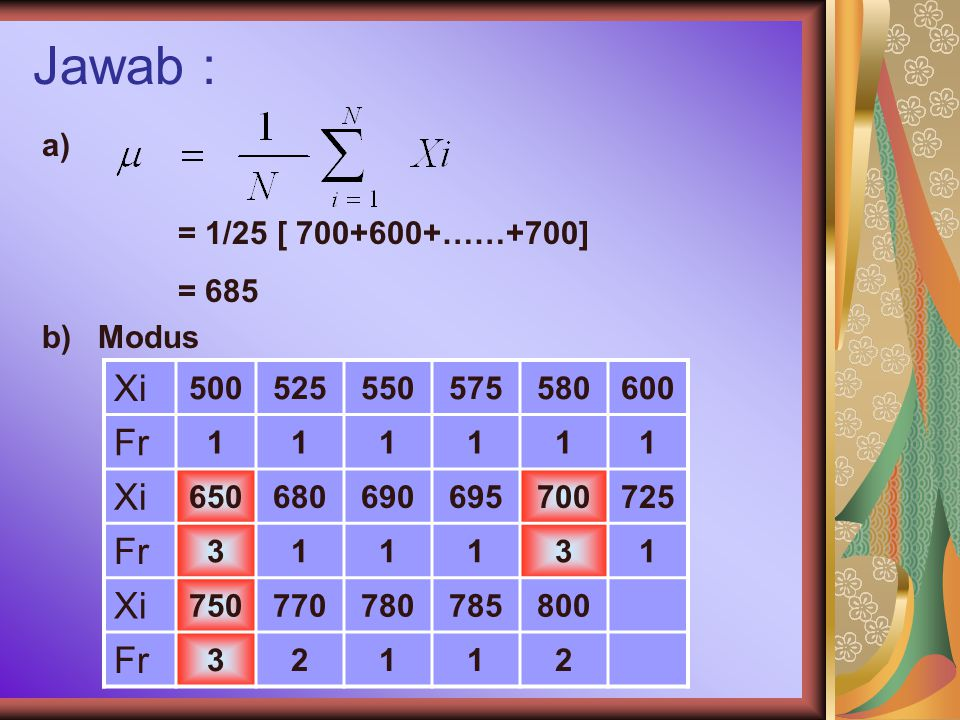 Jawab : Xi Fr a) = 1/25 [ 700+600+……+700] = 685 b) Modus 500 525 550